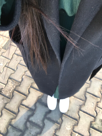 【全羊毛】哥弟女装2019秋季新款欧美腰带大口袋双面呢羊毛大衣长款外套女毛呢大衣女A400016 黑 S(2码) 晒单图