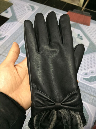 优唯美 秋冬季情侣加绒保暖触摸屏触屏仿皮手套女士 M码K8063 晒单图