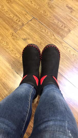 莱卡金顿短靴女2018秋冬新款加绒雪地靴圆头平跟女靴套筒纯色短靴大码女鞋 6344驼色 37 晒单图