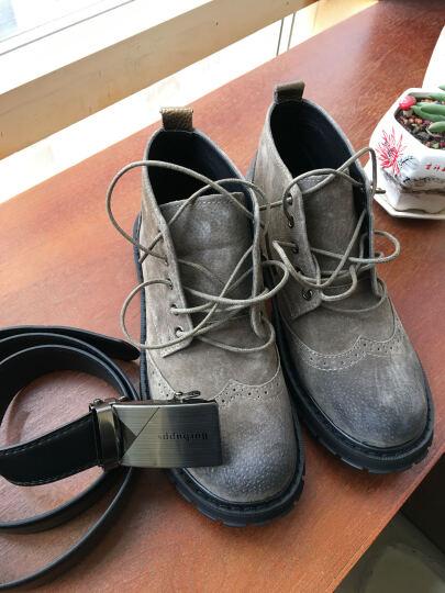 芭步仕 马丁靴工装靴秋冬雪地靴棉鞋男高帮加绒保暖棉靴英伦真皮男靴子 卡其色-时尚四季款 39 晒单图
