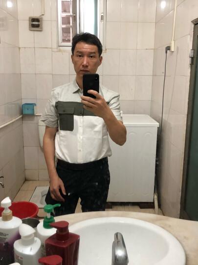 全球购 阿玛尼(Armani Exchange)短袖衬衫男士夏季时尚休闲拼色亚麻半袖衬衣 绿色 S 晒单图