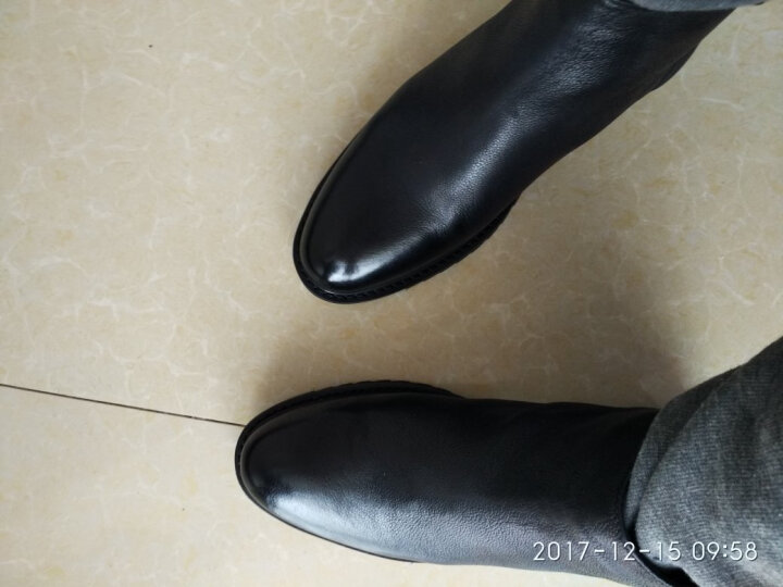 男士高帮皮鞋马丁靴男短靴真皮英伦复古潮流切尔西靴韩版百搭厚底增高圆头个性双拉链牛皮靴子潮 黑皮面加绒 42 晒单图