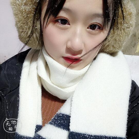 士丹熊女士围巾女冬季学生韩版百搭可爱纯色仿羊绒围脖女秋冬加厚长款披肩 枣红 晒单图
