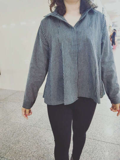 2018春装新款女装韩版宽松下摆a字型竖条纹衬衫女长袖衬衣9920 图片色 S 晒单图