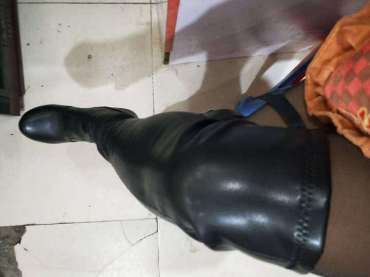 皇美婷高筒靴长靴子女秋冬季过膝长靴高跟防水台女靴高筒弹力长筒靴 1091黑色 36 晒单图