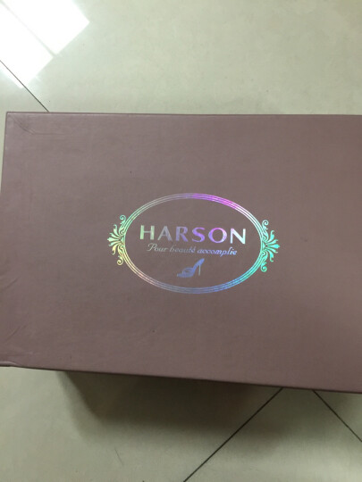 哈森/harson性感细跟人造革女款防水台单鞋HL40806 深蓝色 38 晒单图