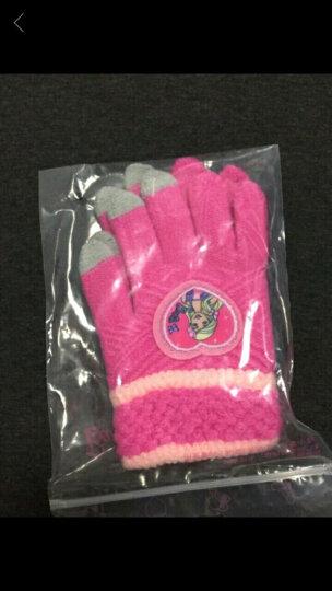 芭比 Barbie 女童手套冬保暖可爱五指儿童公主加厚针织小女孩宝宝毛线手套 T00120玫红 适合6-10岁 晒单图