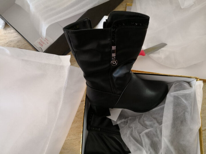 莱卡金顿高跟鞋女靴子新款超高跟深口细跟时装靴性感婚鞋女鞋 8526黑色 37 晒单图