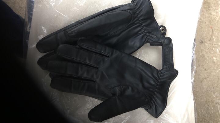 稻草人皮手套男秋冬户外骑车手套黑色PU保暖加绒可触屏男士手套礼盒装 PW11 M 晒单图