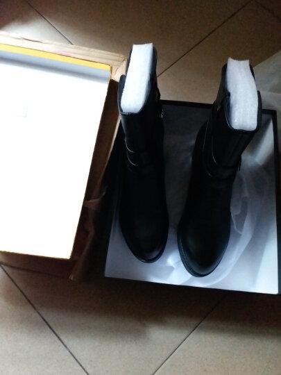 粗跟短靴女靴坡跟女鞋冬季低筒女士中跟马丁靴加绒保暖中筒靴 黑色 41正码 晒单图