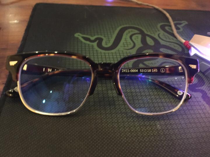 Inmix音米半框眼镜框 大框复古板材男女款近视眼镜架 潮款配眼镜2411 琥珀色+送1.56防蓝光镜片 晒单图