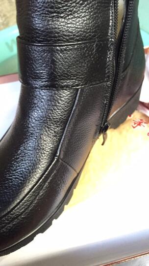 2017冬季新款中老年棉鞋防滑保暖坡跟真皮老人鞋羊毛妈妈鞋女短靴特大码女鞋41 42码 黑色 37 晒单图