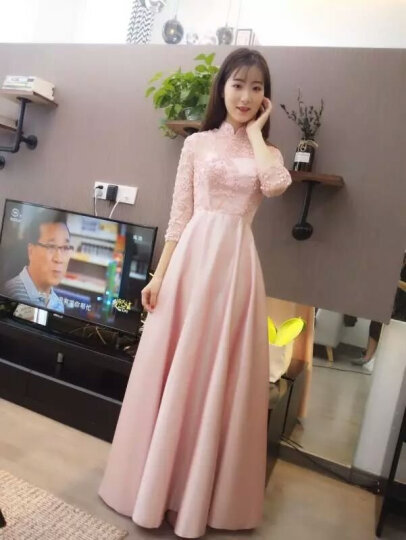 琴丽姿 长款伴娘服2017冬季新款长袖立领姐妹团礼服修身显瘦回门结婚晚礼服女 桃粉色 XL 晒单图