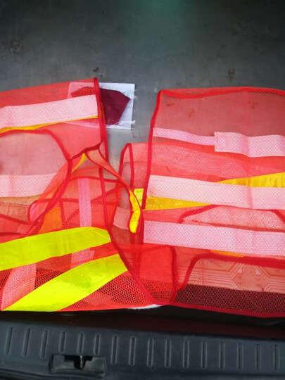 班工安全反光背心交通施工工程反光衣夜跑骑行反光马甲网格透气反光服简易建筑反光服 红色\黄条 晒单图