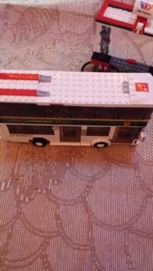 小鲁班校车校园巴士电车公共汽车公交车积木玩具 校园专属巴士 晒单图