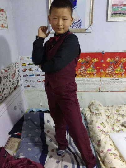 伊思秀(YISIXIU) 花童礼服套装男童小西装儿童西服儿童节男生主持人演出服 表演服装 Y038-1酒红五件套配黑色衬衣 160 晒单图