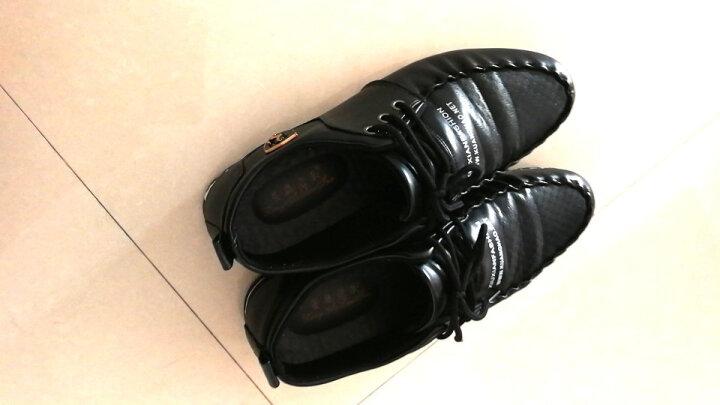 慕畅休闲鞋男鞋鞋子男韩版潮流板鞋舒适简约百搭休闲皮鞋系带2018春季新款 黑色 42偏小一码 晒单图