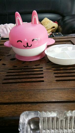 宝升 Babybetter婴儿吸盘碗套装训练辅食碗带盖一个软勺一个硬叉宝宝吃饭碗0-5岁 4645粉色(4件套无兔牙分隔盘)辅食碗 晒单图