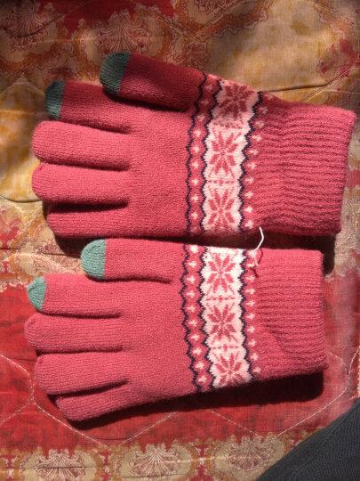 少女之家 可爱手套女冬韩版保暖触屏学生情侣款加厚保暖圣诞麋鹿雪花毛线针织手套 雪花款-玫红 晒单图