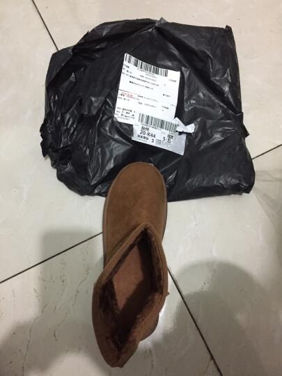 2018年冬季新款磨砂雪地靴女短靴子短筒加厚保暖防滑平底学生棉鞋 灰色 38 晒单图