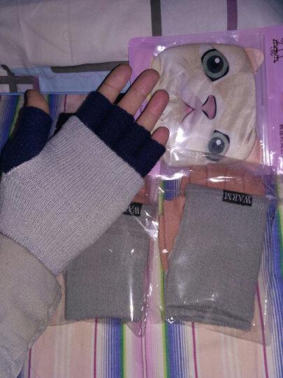 半指毛线手套男女生冬季露指手套学生针织五指漏指保暖触屏手套女冬 触屏手套粉色 均码 晒单图