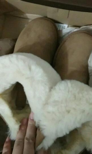 GCB雪地靴皮毛一体女鞋冬季短筒羊毛保暖加厚翻毛皮带扣 6581 栗色 37 晒单图
