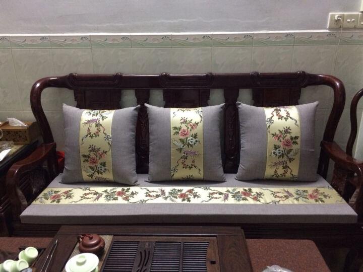 千功坊红木沙发坐垫订做古典家具坐垫定制沙发垫中式布艺沙发坐垫实木沙发垫定做罗汉床垫定制 繁花似锦 扶手定做 晒单图