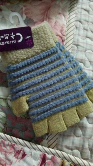 韩版毛线手套女冬半指加绒加厚可爱情侣款毛线手套男半指露手指手套 桔黄配粉色 晒单图