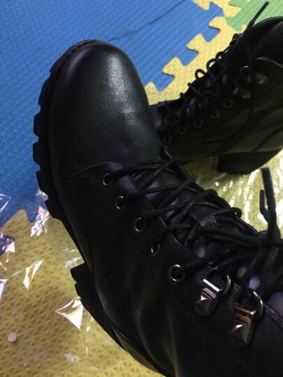 Teenmix/天美意冬专柜同款牛皮优雅简约粗跟马丁靴女短靴6E845DD6 黑绒里 37 晒单图