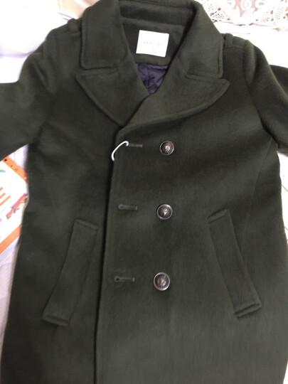 Sexemara童装外套冬季新款加厚儿童呢子大衣中长款羊毛呢冬装男童外套 黑色 130(建议身高125-130cm) 晒单图