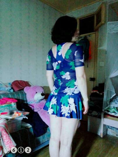 三奇泳衣女保守分体泳衣比基尼三件套泳衣裙式显瘦遮肚韩国小香风泳装沙滩泳衣 藏青色 L 晒单图