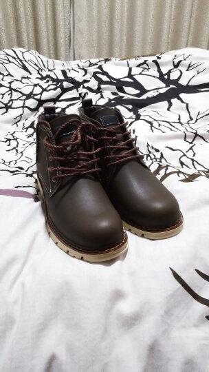 花花公子男靴2018春季加绒男士雪地靴军靴高帮棉鞋马丁靴子 咖啡色加绒款 42 晒单图