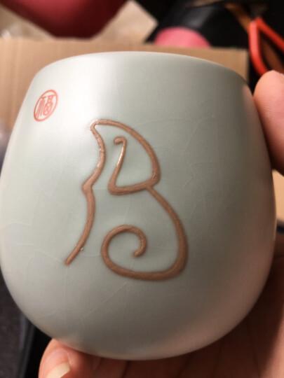 东道汝窑狗年生肖不倒杯景德镇陶瓷功夫茶具创意陶瓷茶杯汝瓷礼盒装 天青色-狗年生肖杯 晒单图