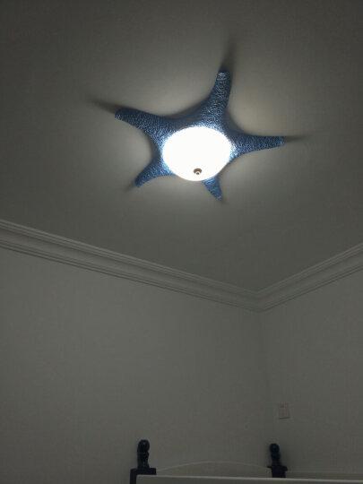 闪派地中海儿童房灯卧室房间灯饰led吸顶灯罩客厅圆形餐厅温馨创意个性男女孩儿童卡通灯具 蓝色款三色分段调光18W 晒单图