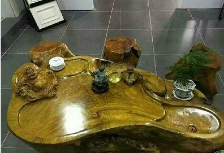 根雕茶桌茶台茶海树头木头客厅小茶几整体树根茶台茶艺桌实木红金丝楠香樟木树桩茶盘功夫边几鸡茶桌翅木大型 香樟8046 晒单图