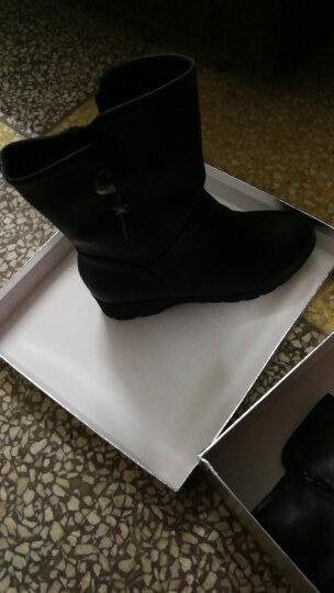 大码女靴加绒保暖短靴冬季新款欧美平底圆头皮靴 邻3301黑色 37 晒单图