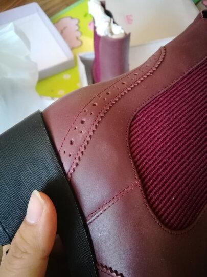 Tata/他她冬季专柜同款酒红色牛皮女短靴2H641DD5 酒红色 40 晒单图