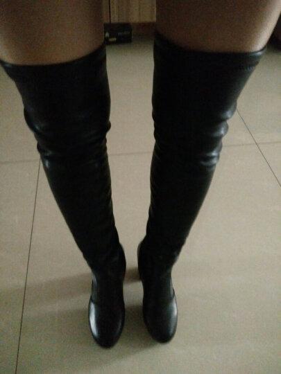 莱卡金顿女靴子女长靴高跟长筒靴弹力过膝靴纯色粗跟高筒靴时尚过膝长靴女冬 黑色热卖 36标准码 晒单图