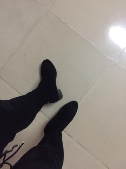 名婉丽人过膝长靴女尖头中跟弹力瘦腿高筒靴加绒长筒靴粗跟高跟显瘦骑士靴子 黑色内增高3+2CM(加绒) 35 晒单图