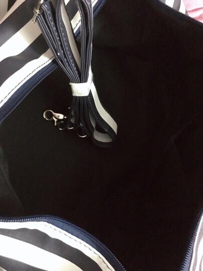 圣腾手提旅行包大容量防水可折叠行李包短途旅行袋出差包女旅游包行李袋PU装衣服包单肩斜跨包包 蓝白条纹 中等容量 晒单图