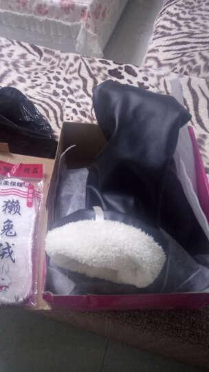 货到付款 秋冬季新款长靴女坡跟内增高长筒靴松糕底皮面高筒靴包腿过膝靴40-43大码 8803黑色加绒 35 晒单图