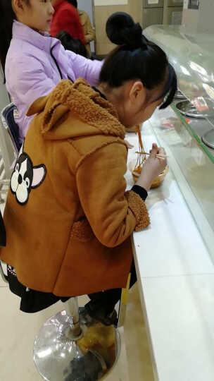童装女童外套秋冬装2017新款儿童韩版中长款加绒加厚卡通女宝宝外套 小猫抓绒款--豆绿色 120码 晒单图