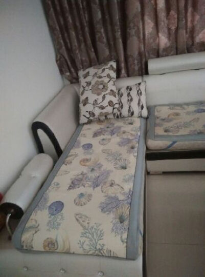 富居(FOOJO)夏季冰丝印花单人位沙发坐垫靠背巾 海边贝壳 70*70cm 晒单图