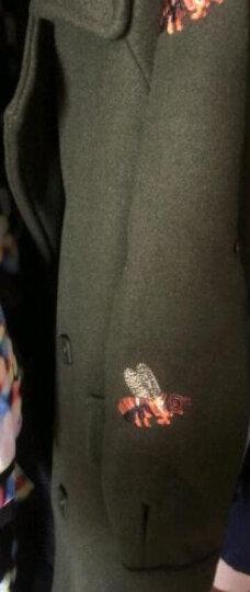 耐登邦马毛呢大衣女2017秋冬新款毛呢外套中长款宽松大码女装羊绒呢子大衣 军绿色 L 晒单图