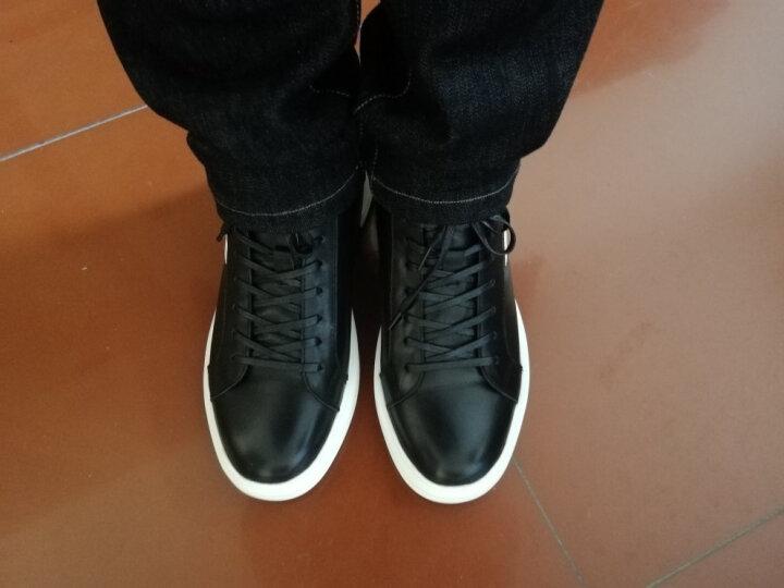 意大利男鞋新款真皮秋冬季保暖加绒棉鞋男高帮时尚休闲鞋英伦板鞋 正常版黑色 41正常皮鞋码 晒单图
