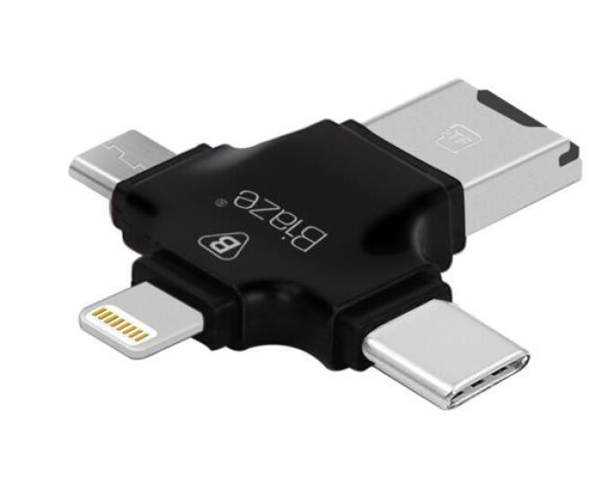 BIAZE 四合一读卡器 手机U盘插TF卡OTG外接优盘Type-C手机电脑双用 适用于苹果 安卓 A6-黑 晒单图