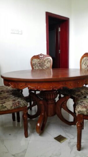 简右家具 欧式实木圆桌 豪华雕花餐桌 橡木餐桌椅 吃饭圆台 配套单独餐椅两张张价格 晒单图