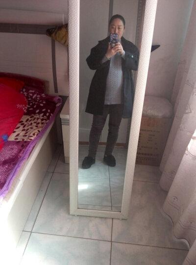 伊夫鲨鱼2018新款冬季毛呢大衣女 韩版修身翻领呢子大衣中长款外套女 黑色A L(110-120斤) 晒单图