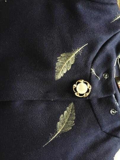 黛诗奴 中老年女装秋装毛呢外套时尚妈妈装冬装加棉加厚毛呢大衣中年女装呢大衣DSN3410 酒红色加棉版 4XL(130-145斤) 晒单图