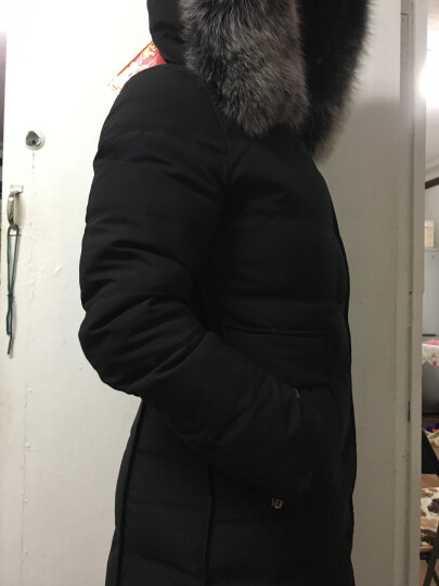 北极绒新款高雅气质狐狸大毛领连帽过膝羽绒服女中长款妈妈装BJR1788 军绿色 M/160(建议105斤以内) 晒单图